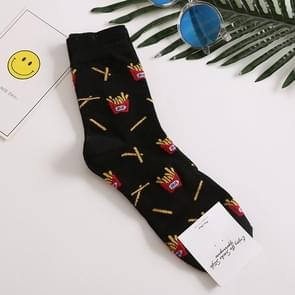 5 paar lange buis mannen Europese en Amerikaanse stijl afdrukken trend katoenen sokken  maat: One size (zwart)