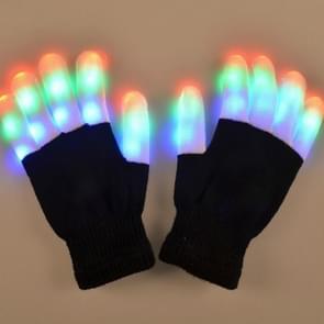 LED kleurrijke lichtgevende prestaties handschoenen kinderen handschoenen  een paar  geschikt leeftijd: over 10 jaar oud (zwart)
