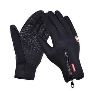Buitensport wandelen winter lederen zachte warme fiets handschoenen voor mannen vrouwen  grootte: L (zwart)