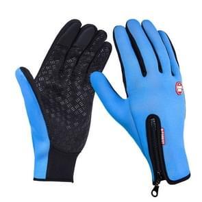 Outdoor Sports Hiking Winter Leather Soft Warm Bike Gloves For Men Women, Size:M(Blue)