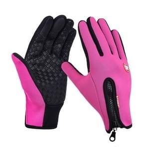 Outdoor sport Hiking winter lederen zachte warme fiets handschoenen voor mannen vrouwen (rood)