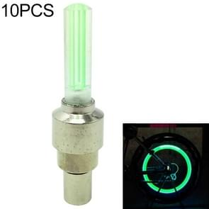 10 PCS LED Bicycle Lights Wheel Tire Valve Caps Bike Accessories Cycling Lantern Spokes Lamp(Green)