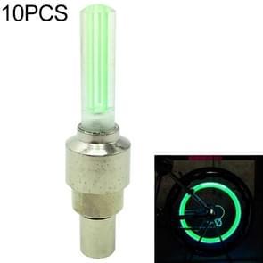 10 stuks LED fietsverlichting wiel Tire Valve Caps fiets accessoires fietsen lantaarn spokes lamp (groen)