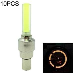 10 stuks LED fietsverlichting wiel Tire Valve Caps fiets accessoires fietsen lantaarn spaken lamp (geel)