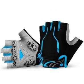 Cycling Gloves Half Finger Mens Women Summer Sports Shockproof Bike Gloves L(Blue)