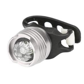 Aluminum Bicycle Cycling Front Rear Tail Helmet Red White LED Flash Lights Safety Warning Lamp Cycling Caution Light Waterproof(White Light White Case)