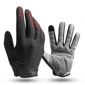Cycling Gloves Full Finger Sport Shockproof MTB Bike Touch Screen Gloves Man Woman Sponge Long Finger Glove, Size:L(Black+Red)