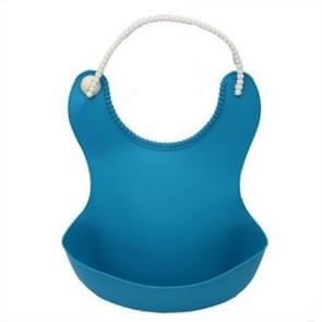 Baby Infant Toddler Waterproof Silicone Bib Infants Feeding Lunch Roll-up Apron(Dark Blue)