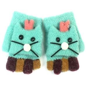 Kinderen cartoon kat imitatie kasjmier warm Flip halve vinger handschoenen  grootte: 2-6 jaar oud (groen)