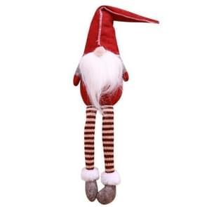 Schattige zittende Faceloze lange poten elf Doll kerstversiering (rood)