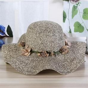 Women Beach Cap Big Wide Brim Straw Hat Colorful Flower Beach Sun Foldable Cap(Khaki)