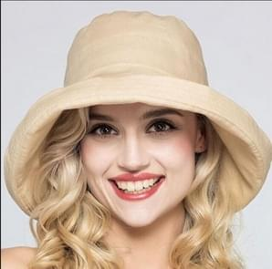 Summer Foldable Cotton Linen Travel Beach Hats Women UV Protection Sun Caps Fisherman hat(Khaki)