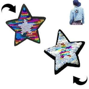 5 PCS Flip Color Five-pointed Star Sequin Cloth Applique Garment Accessories(Bright Rainbow)