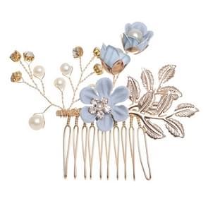 Fashion Flower Hair Combs Headdress Prom Bridal Wedding Hair Accessories Gold Leaves Hair Jewelry Hair Pins(Blue hair comb)