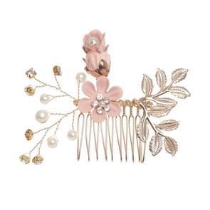 Fashion Flower Hair Combs Headdress Prom Bridal Wedding Hair Accessories Gold Leaves Hair Jewelry Hair Pins(Pink hair comb)