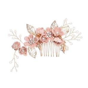 Fashion Flower Hair Combs Headdress Prom Bridal Wedding Hair Accessories Gold Leaves Hair Jewelry Hair Pins(Pink big zise)