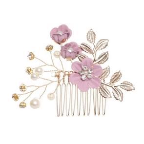 Fashion Flower Hair Combs Headdress Prom Bridal Wedding Hair Accessories Gold Leaves Hair Jewelry Hair Pins(Purple hair comb)