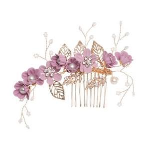 Fashion Flower Hair Combs Headdress Prom Bridal Wedding Hair Accessories Gold Leaves Hair Jewelry Hair Pins(Purple big size)