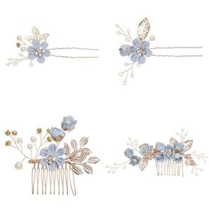 Fashion Flower Hair Combs Headdress Prom Bridal Wedding Hair Accessories Gold Leaves Hair Jewelry Hair Pins(Blue sets)