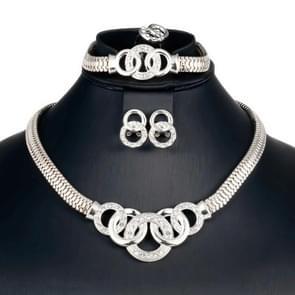 4 STKS/set vrouwen ronde bruiloft sieraden set bruids kostuum juwelen (zilver)