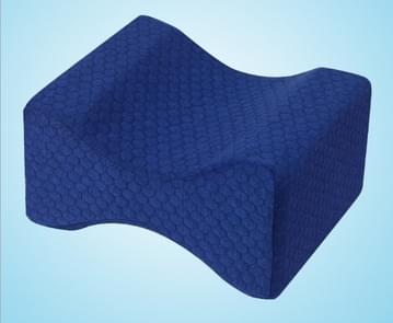 Orthopedische Memory Foam knie wig kussen voor slapen ischias terug heupgewricht Pain Relief Contour dij been Pad ondersteuning kussen marineblauw raster