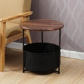 Sleek Minimalist Mini Round Sofa Corner Several Small Coffee Table Bedside Table Cabinet (Two-layers Oak Black)