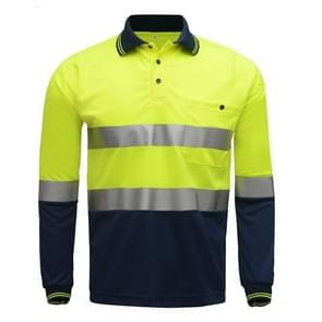 Long Sleeve Reflective T-Shirt Road Staff Safety Clothing, Size:XL(Fluorescent Yellow Spelling Cyan)