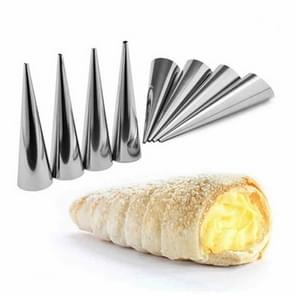 5 PC'S Cone Roll mallen RVS spiraal nozzle croissants gebak crème hoorn taart schimmel (grote 12x3x3cm)