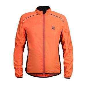 Reflecterende high-visibility lichtgewicht sport jas packable winddicht lange mouw sportkleding  maat: XXXXL (Orange)