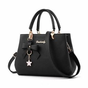 Women Luxury Tote Plum Blossom Bow Sweet Messenger Bag(Black)