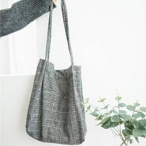 Winter Women Woolen Canvas Shoulder Bag Ladies Vintage Plaid Handbag Totes Female Cotton Wool Cloth Shopping Bags(Wool red grid)
