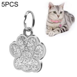 5 PCS Metal Pet Tag Zinc Alloy Identity Card Footprint Lettering Dog Tag(Silver)