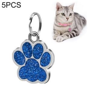 5 PCS Metal Pet Tag Zinc Alloy Identity Card Footprint Lettering Dog Tag(Blue)