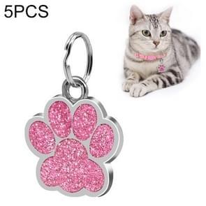 5 PCS Metal Pet Tag Zinc Alloy Identity Card Footprint Lettering Dog Tag(Pink)