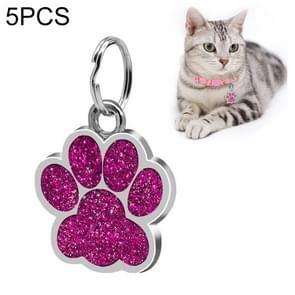 5 PCS Metal Pet Tag Zinc Alloy Identity Card Footprint Lettering Dog Tag(Purple)