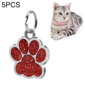 5 PCS Metal Pet Tag Zinc Alloy Identity Card Footprint Lettering Dog Tag(Red)