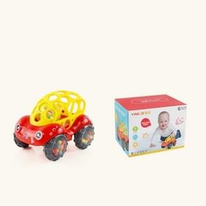 Baby Plastic Non-toxic Colorful Animals Hand Jingle Shaking Bell Car Rattles Toys Music Handbell for Kids(Red)