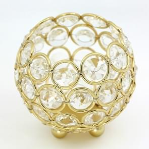 Crystal Ball Candlestick Vase Road Lead Ball Type Candlestick Wedding Candlestick Decoration, Size:80mm(Gold )