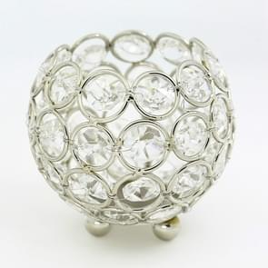 Crystal Ball Candlestick Vase Road Lead Ball Type Candlestick Wedding Candlestick Decoration, Size:100mm(Silver )