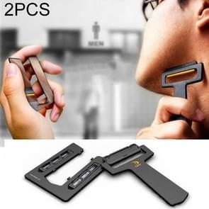 2 PC'S outdoor ultra-draagbare kaart Shaver Pocket Razor Safety Razor met spiegel & Blades