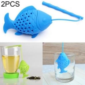 2 PCS Kawaii Fish Design Food Grade Silicone Tea Leaf Strainer Diffusion Herbal Spice Infuser Filter, Color Random