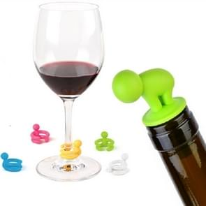 7 PCS Cartoon Silicone Sealed Spiral Red Wine Stopper + Cup Feet Set, Random Color Delivery