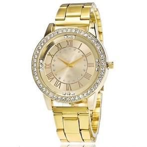 2 PCS Stainless Steel Wrist Watchs Crystal Quartz Bracelet Watch(Gold)