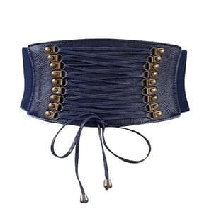 Female Elastic Tassel Wide Belt Decoration Dress Accessories Belt(Blue)