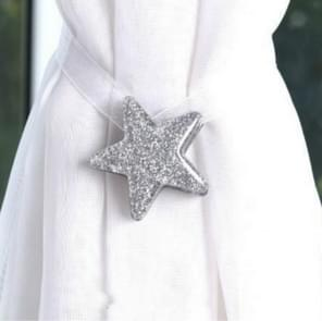 2 PCS Luck Star Magnetic Curtain Buckle Star Curtain Broach(Sliver)