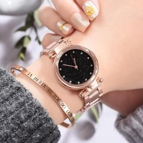 2 PCS Star Steel Strip Alloy Quartz Trend Watch(Rose)