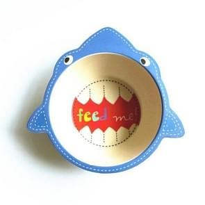 Children Bowl Environmental Bamboo Fiber Bowl Cartoon Dishes Baby Feeding Tableware(shark)