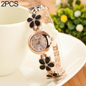 5015 2 PCS Women Rhinestone Flower Alloy Bracelet Quartz Watch(Black)