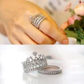 2PCS Fashion Accessories Jewelry Quality Crystal Lmperial Crown Ring For Women(8)