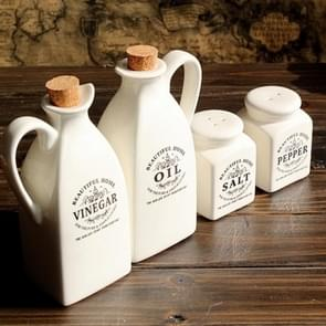 Ceramic White Spice Jar with Wooden Cork Kitchen Condiment Bottle Seasoning Pot Pepper Vinegar Oil Salt Bottle Cooking Spice Tool